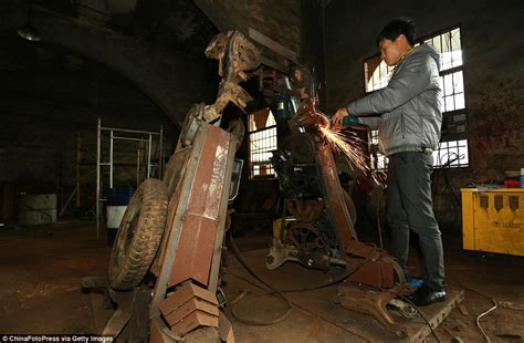 film robot tranfomer peasant father and son in china create huge replicas of