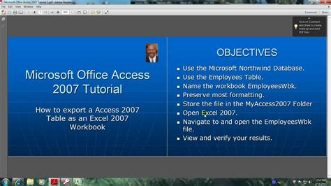 youtube tutorial access 2007 access 2007 tutorial how to export a table as an excel