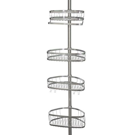 bathroom tension pole caddy interdesign york tension pole shower caddy in chrome and