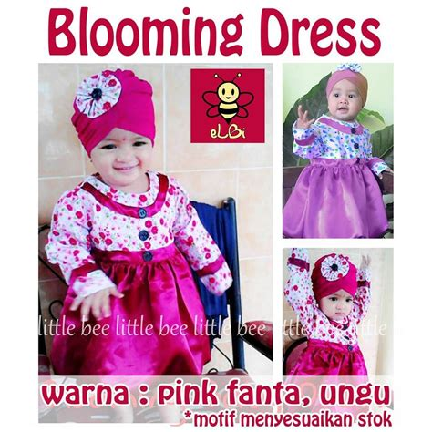 Baju Anak Perempuan Elevenia baju bayi perempuan lucu umur 1 2 tahun i blooming dress set turban elevenia