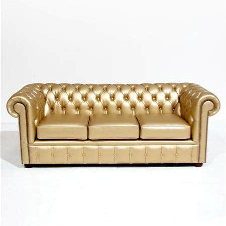 chesterfield metallic leather sofa