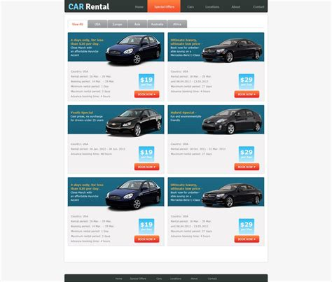 rent a free rent a car website template car rental template phpjabbers
