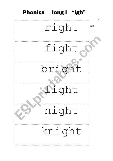 """English worksheets: Phonics Long i """"igh"""""""