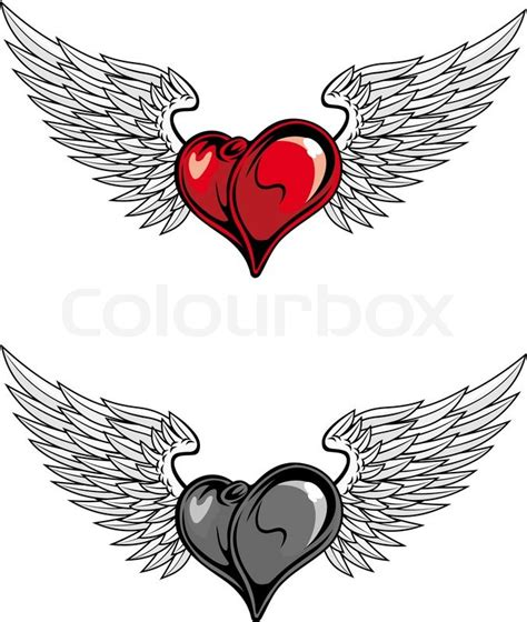 medieval heart with wings for religion or tattoo design in