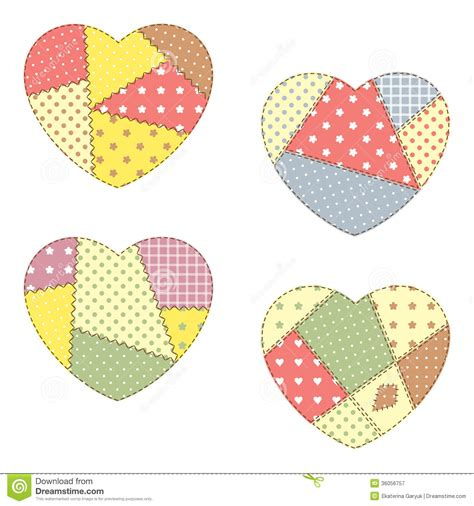 Patchwork Hearts - patchwork hearts stock vector image of pastel