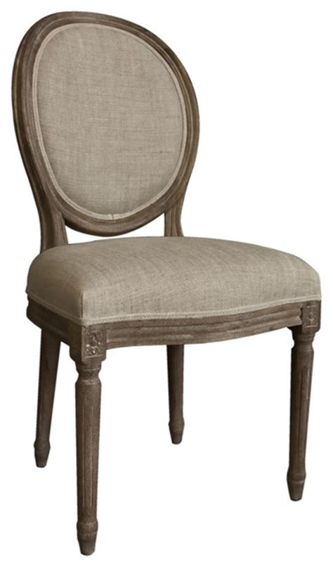 rustic round back upholstered chair for dining room casual living vintage french round back upholstered linen