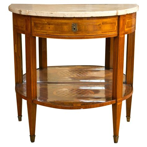 Marble Entry Table Continental Marquetry And Inlaid Demilune Marble Topped Entry Table At 1stdibs