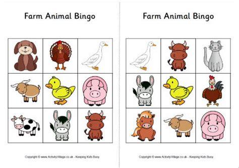 printable animal snap cards farm animal bingo cards