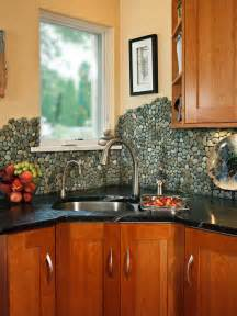 rock kitchen backsplash river pebbles create unique stacked stone contemporary cleveland