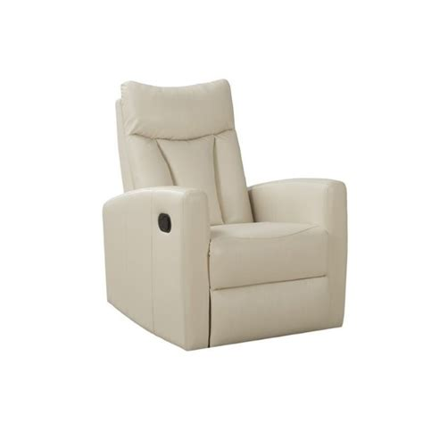ivory leather recliner padded back swivel glider leather recliner in ivory i8087iv