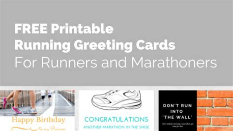 printable birthday cards for runners running cards and marathon cards