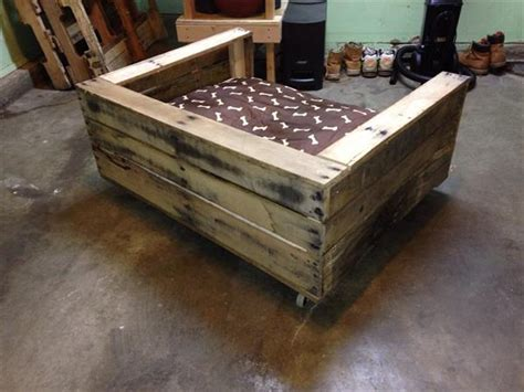 diy wooden dog bed diy rustic pallet dog bed pallet furniture plans