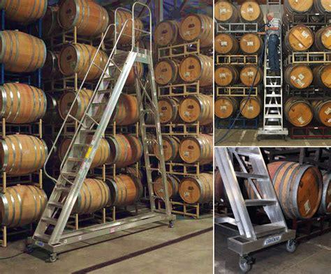 Western Square Barrel Racks by Aluminum Winery Ladders Stokes Ladders