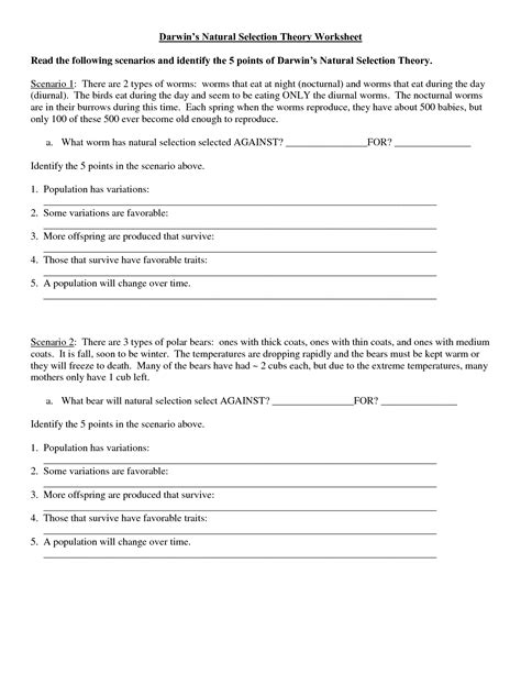 Darwin And The Theory Of Evolution Worksheet Answers by 12 Best Images Of Darwin S Selection Worksheet Key Evolution By Selection
