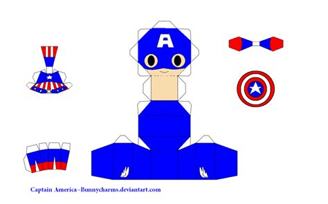 Captain America Papercraft - captain america papercraft template by bunnycharms on