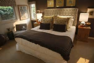 brown walls in bedroom trellis headboard transitional bedroom oc register