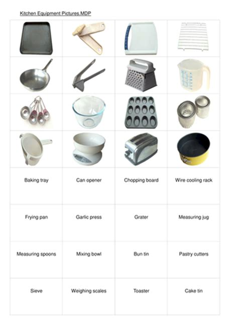 Kitchen Position Names by Equipment In The Kitchen By Janharper Teaching Resources Tes