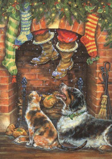 santa coming  chimney christmas card  lpg