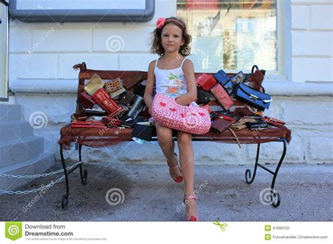 bench girl girl on the bench stock photo image 47990100