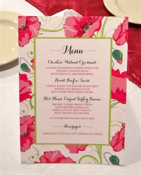 best wedding shower menu bridal shower menu card modhousewife s event planning