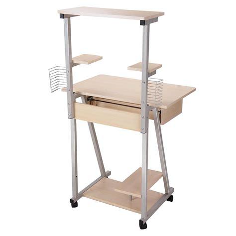 computer desk with tower shelf mobile computer desk tower printer shelf laptop rolling