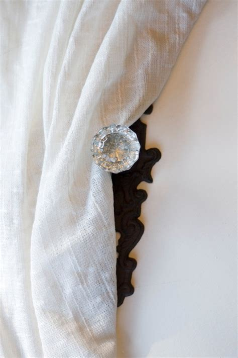 door knob curtain tie back set of four vintage crystal door knob curtain tie back