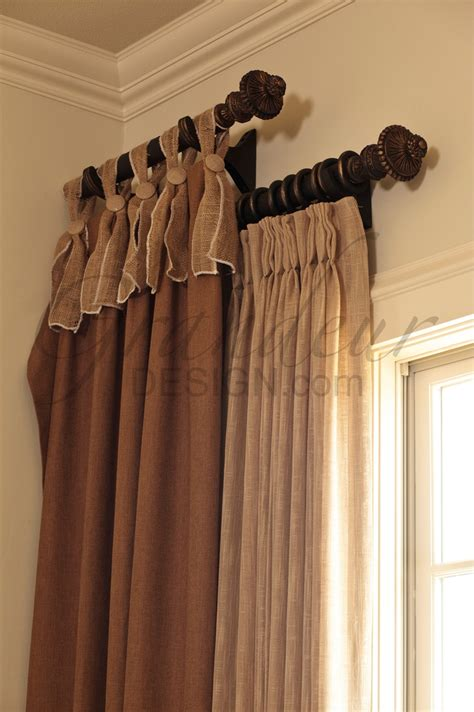 window treatments curtain rods using or two small decorator rods at different