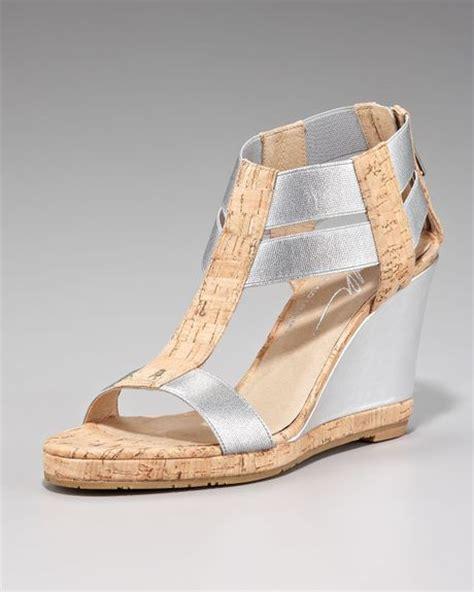 silver cork wedge sandals donald j pliner metallic cork wedge sandal in silver lyst