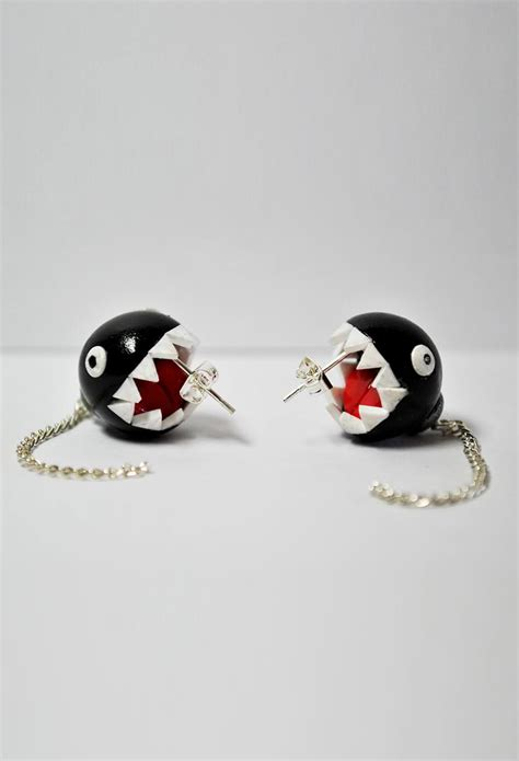 mario brothers inspired chain chomp earrings