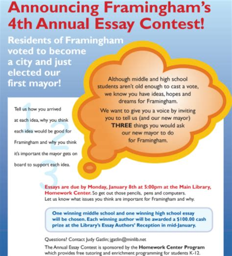 Cleanedison Annual Essay Contest by Homework Center Announces 4th Annual Essay Contest Framingham Source