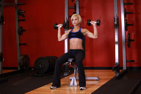 seated bench press seated dumbbell press exercise guide and video