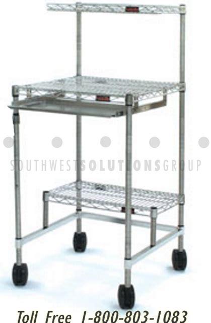 rolling desk storage portable computer workstation shelving carts rolling