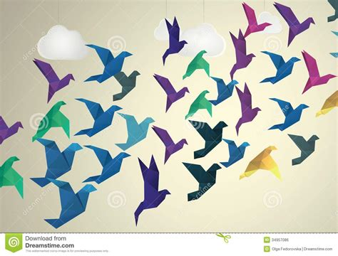 Origami Birds Flying - origami birds flying and clouds royalty free stock