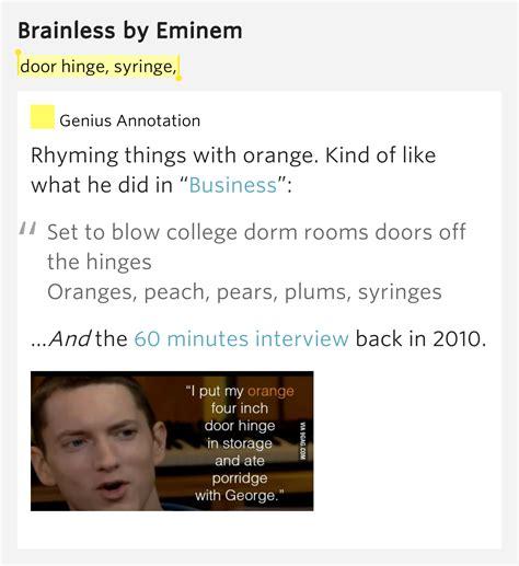 eminem business lyrics door hinge syringe brainless by eminem