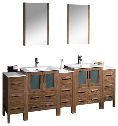84 inch bathroom vanity with side cabinets walnut