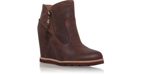 ugg boots wedge heel ugg myrna wedge heel ankle boots in brown lyst