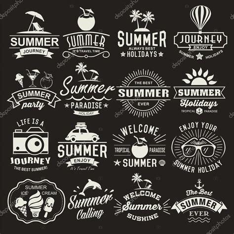 vintage design elements font summer logotypes set summer typography designs vintage