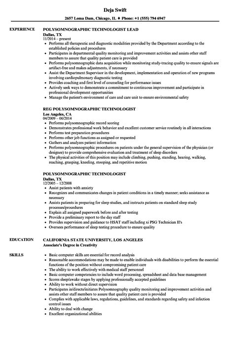 Sleep Technician Sle Resume by Polysomnographic Technologist Resume Sles Velvet