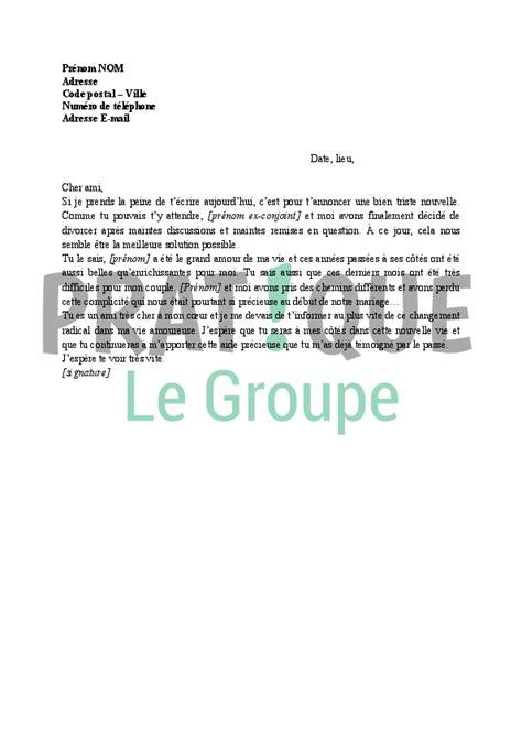 Modele De Lettre Un Ami Lettre Pour Annoncer Divorce 224 Un Ami Pratique Fr