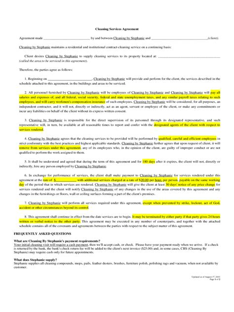 Cleaning Service Agreement Letter Cleaning Contract Template 3 Free Templates In Pdf Word Excel