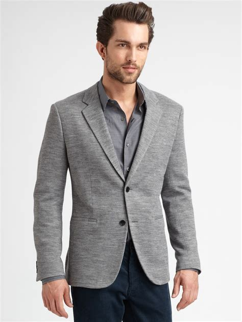 grey knit blazer lyst theory knit blazer in gray for