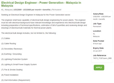 design engineer job vacancy selangor oil gas vacancies electrical design engineer power