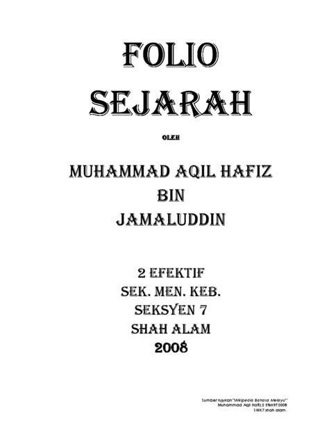 Sejarah Pendidikan Nasional Oleh Muhammad Rifai folio sejarah ting 2