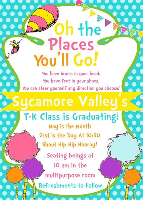 Oh The Places You Ll Go Graduation Invitation Template