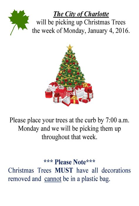 christmas tree pick up scheduled for week of january 4