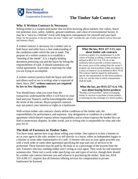 35 Contract Sles Templates In Pdf Sle Templates Sle Timber Sale Contract Template