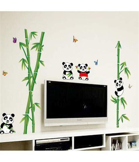 Wall Sticker 60x90 Glow I stickerskart green nursery school baby room animals panda on bamboo trees wall