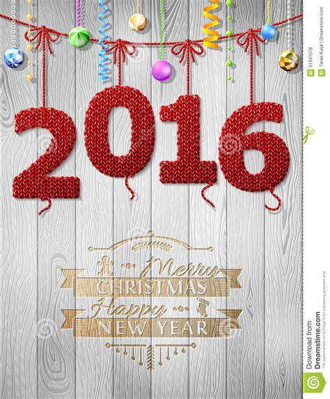 new year cloth decoration new year 2016 knitted fabric as decoration stock