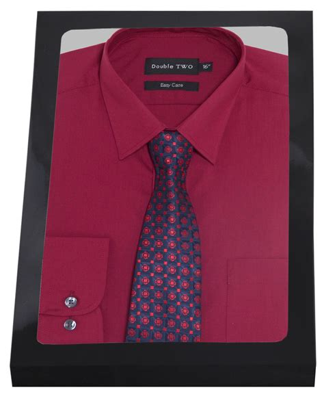 Tie Set by Plain Burgundy Formal Shirt And Tie Set Two
