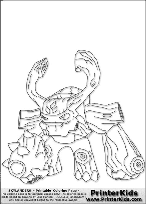 skylanders tree rex free colouring pages